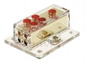 Táp elosztó blokk negatív vezetékhez 1x20mm2 bemenet + 4x10mm2 kimenet 30.3601-04